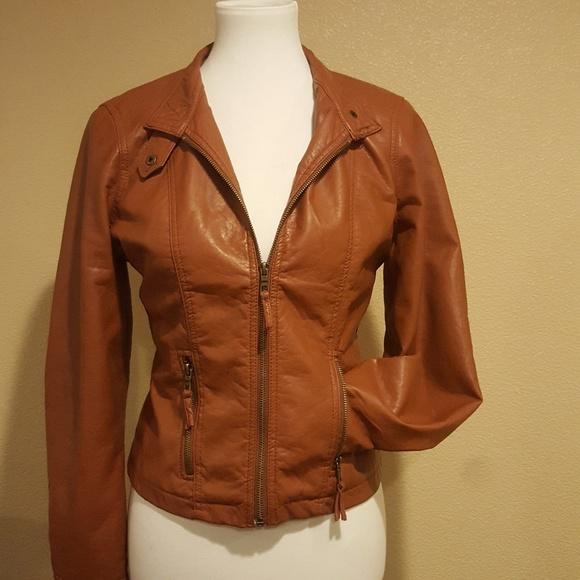 a704ee869 Brown Full Zipper Faux Leather Moto Jacket